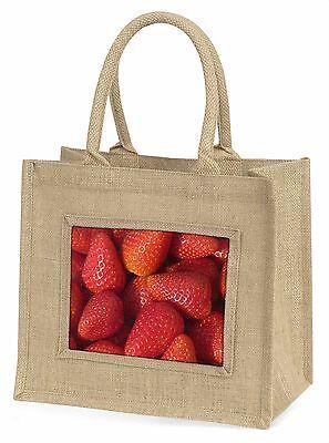 Erdbeeren Aufdruck Große Natürliche Jute-einkaufstasche Weihnachten , F-F5BLN