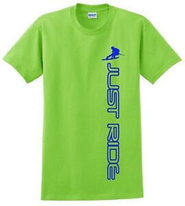 JUST RIDE WAKE BOARD T SHIRT WAKEBOARD BLUE 100/% COTTON
