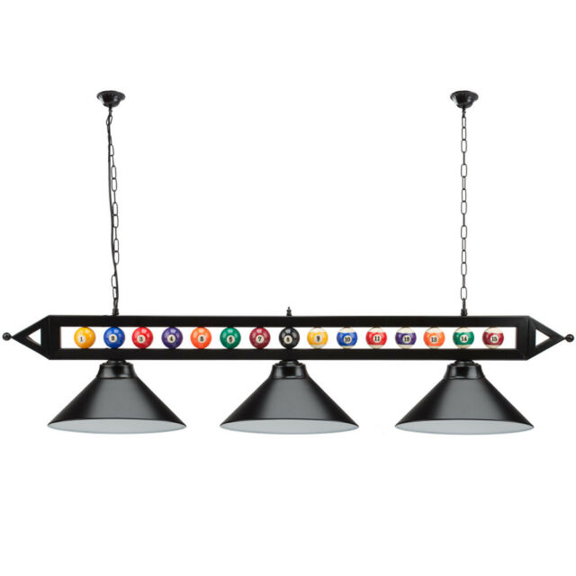 59 Billiard Pool Table Lighting Fixture With 3 Metal Lamp Shades For Room