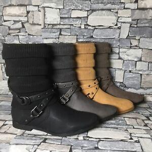 competitive price c4c78 09e35 Details zu Damen Stiefeletten Strick gefüttert Boots Stiefel flach Winter  Herbst neu ST2912