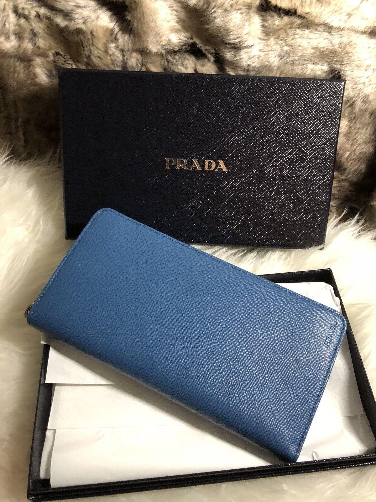 NWT Authentic Prada Mens Zip Around Wallet in Cobalto Blue Saffiano Leather