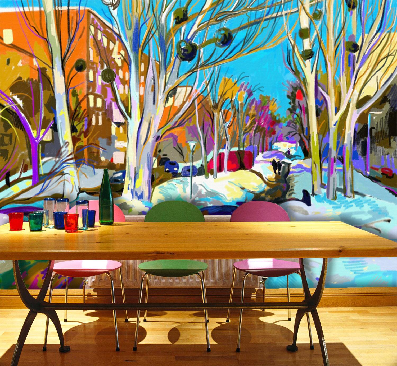 3D Mondo Albero 4 Parete Murale Foto Carta da parati immagine sfondo muro stampa