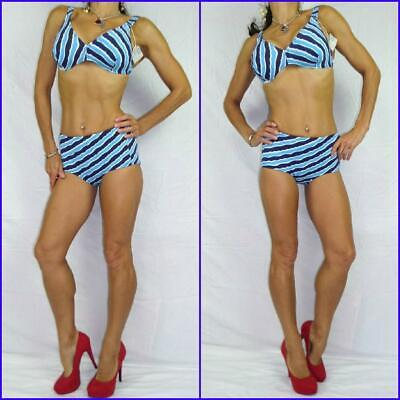 VINTAGE 60s gogo MOD SWIMSUIT 8 10 NAUTICAL STRIPE BIKINI blue white navy NWT | eBay