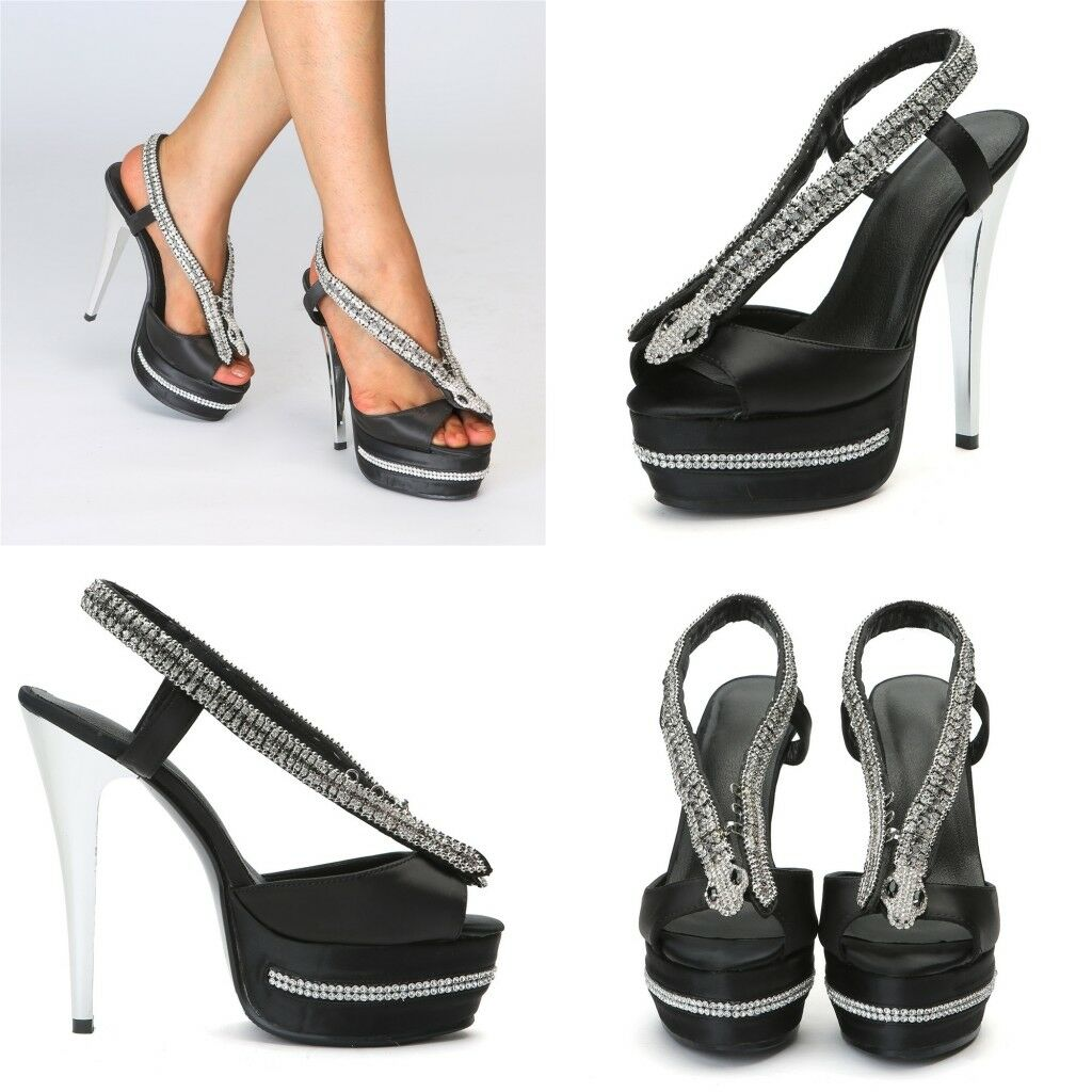 Wouomo Slingbacks High Heels Rhinestone Peep Toes Platform Stilettos Club scarpe