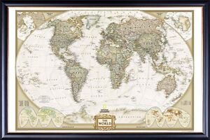 Large World Map Framed.Framed Large World Map Poster Wall Print Classic Perfect For