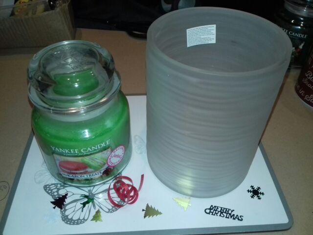 YANKEE CANDLE MACARON TREATS Medium JAR WITH TRANQUILITY JAR HOLDER CHRISTMAS