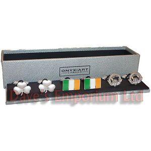 Beliebte Marke 3er Set Irisch Von Onyx Art - Verpacktes Geschenk - Kleeblatt Claddagh Flagge Feine Verarbeitung
