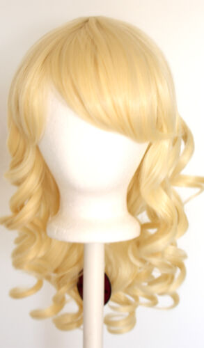 20'' Layered Loose Curly Cut W/ Long Bangs Flaxen Blonde Cosplay Wig New