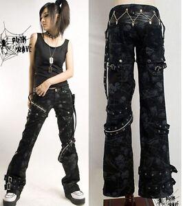 Unisex-HOT-sexy-visual-kei-PUNK-gothic-Black-classic-rock-removalbe-pants-S-XXL