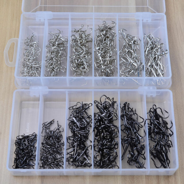 Lot 500Pcs 10 Sizes Assorted Sharpened Fishing Hooks Lures Baits With Tackle Box