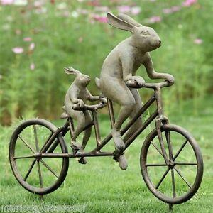 Rabbit-Tandem-Bicycle-Bunnies-Garden-Sculpture-Metal-Bunny-Outdoor-Statue-28-034-W
