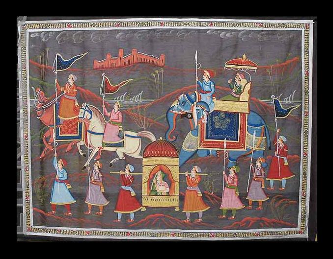 Tenture Murale Peinture sur Soie Art Moghole Elephant Inde 90x66cm D2 1599