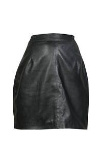 Brand-New-Genuine-Real-Sheep-Nappa-Leather-Women-Ladies-Short-Skirt-Size-6-18
