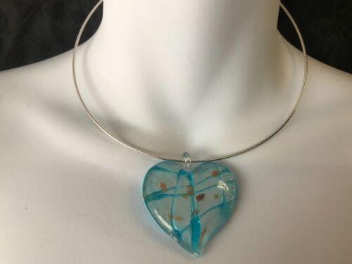 Candelabros Hermoso Grande Azul corazón Impreso Lacado único rígido Collar De Plata