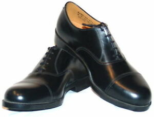 9ca680aefb12f Details about Mens Black Leather Parade Shoes British Army / RAF / Cadet  With Toe Cap All Size