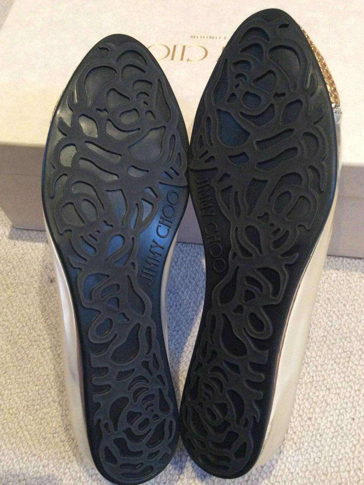 Jimmy choo choo choo  waine  en cuir argenté ornée de luxe ballerine flat 36 0472ea