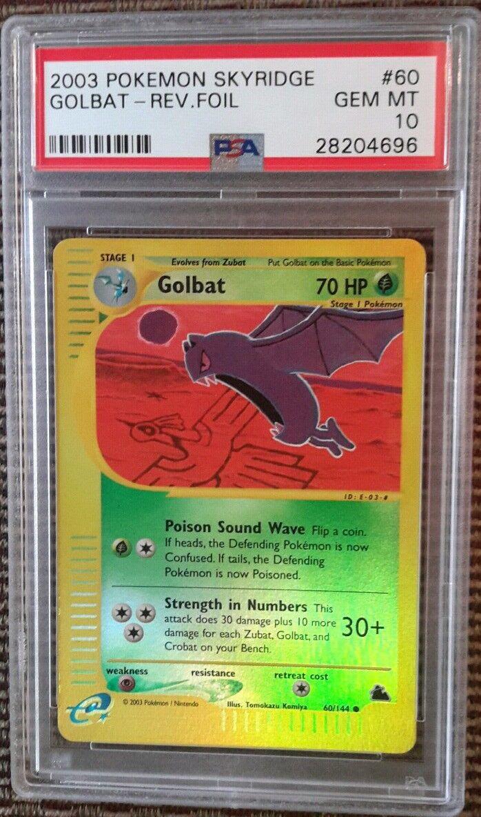 Golbat REVERSE FOIL 60 144 PSA 10 GEM MINT 2003 Skyridge Set Pokemon Card Pop 7