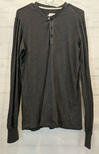 Rag And Bone Size S Men's Dark Gray Long Sleeve Henley Peruvian Cotton