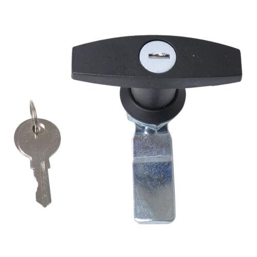 Poignée en T pour serrure de porte de garage avec 2 clés noir black