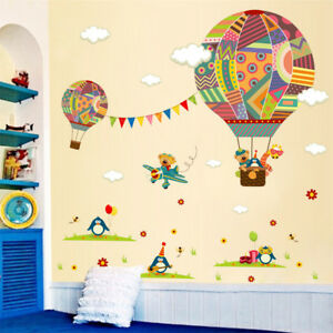 Cartoon-Air-Balloon-Pattern-Wall-Stickers-for-Kids-039-Room-Decoration-Wall-Art-NP