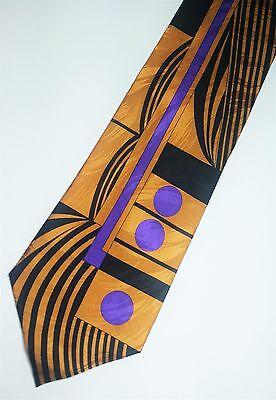 "And White Art Necktie Gold Brown /""Architect/"" Bob Beamon Designed Tie Black"