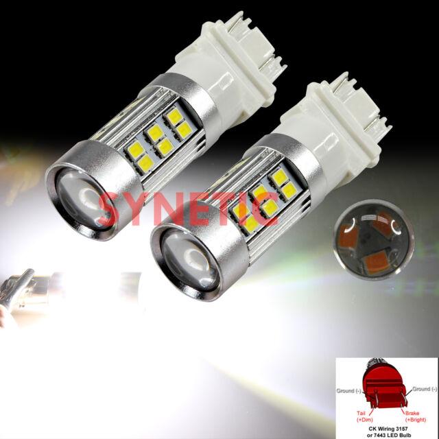 2x 3157CK Socket 2835 Chip 27LED 6000K White Backup Tail Turn Signal Light Bulbs
