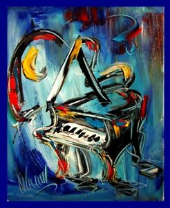 PIANO BLUES ABSTRACT PAINTING Expressionist MODERN ART  GOLDEN JAZZ MUSIC