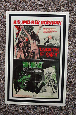 His & Her Horror Lobby Card Poster Double Feature Daughters of Satan Superbeast