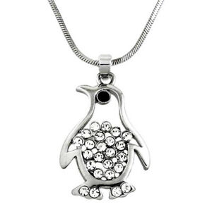 Silvertone penguin pendant necklace 21 chain rhinestone crystals image is loading silvertone penguin pendant necklace 21 034 chain rhinestone aloadofball Choice Image