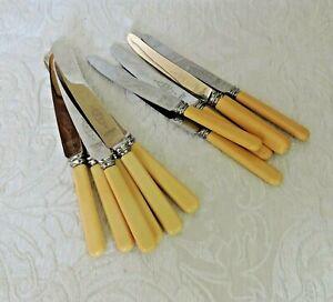 Set-Arthur-Price-6-Dinner-amp-6-Dessert-Knives-vintage-faux-bone-handles-Bakelite
