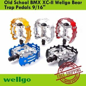 """Old School BMX Beartrap Pedals Red 9//16/"""" for 3 piece cranks"""