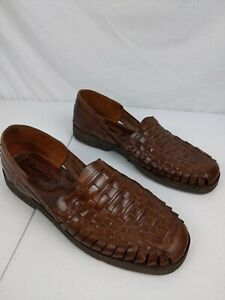 Sunsteps Mens Hand Woven Brown Leather