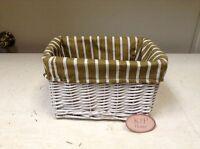 Woven Wicker Kitchen Bathroom Shelf Storage Organizer Basket Stripe Liner 10x6.5