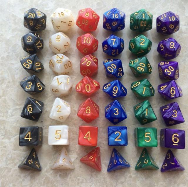7PCS Polyhedral Dice with Bag Green Set DnD RPG 4 6 8 10 12 20 D4-D20