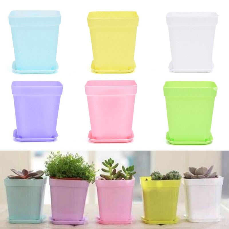 Colorful Plastic Flower Pots Tray Square Plant Pots For Plants Garden DH_hg