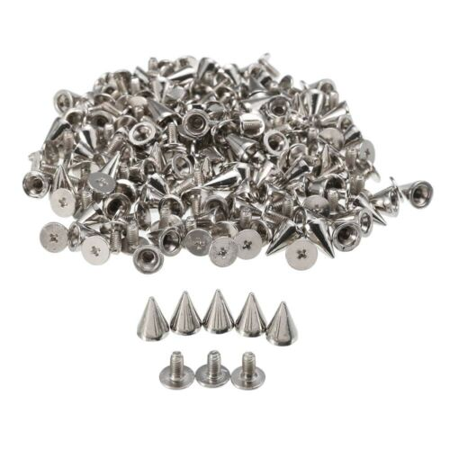 100s//set 10mm Silver Cone Stud And Spikes DIY Craft Punk Rivets For Bags Clothes