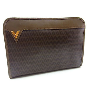 Valentino-Clutch-bag-Second-bag-Brown-Gold-Woman-Authentic-Used-Y2497