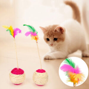 Pet-Cat-Claw-Catch-Toy-Shuttlecock-Ball-Interactive-Training-Colorful-Feathe-YT