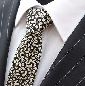 Objectif Tie Cravate Slim Noir Avec Blanc Cassé Feuilles Qualité Coton T6105-afficher Le Titre D'origine Moderne Et EléGant à La Mode