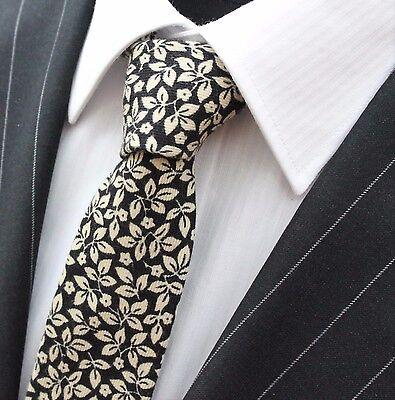 Vendita Economica Tie Cravatta Slim Nero Con Foglie Bianco Sporco Cotone Di Alta Qualità T6105-mostra Il Titolo Originale