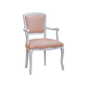 Kleiner Sessel Paris Holz Weiß Shabby Tuch Cogne Rostbraun Angeln