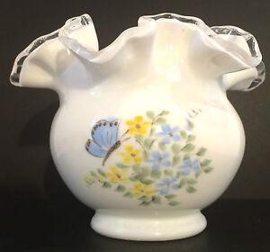 Fenton-Silver-Crest-Vase-Hand-Painted-Floral-Design-Fenton-Logo-1970-s