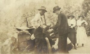 West-Virginia-Coal-Miner-Family-Changing-Tire-Antique-Car-Jalopy-Antique-Photo