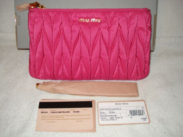 65179aa3d615 100 Authentic MIU MIU Matelasse Fuchsia Wristlet Clutch Bag for sale ...
