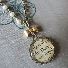 """""""SEARCHING FOR DARCY"""" Pride & Prejudice Necklace with Vintage Book Text Austen"""