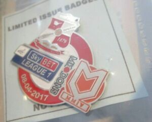 SWINDON TOWN MK DONS  LIMITED EDITION SKYBEY LEAGUE ONE 2017 BADGE