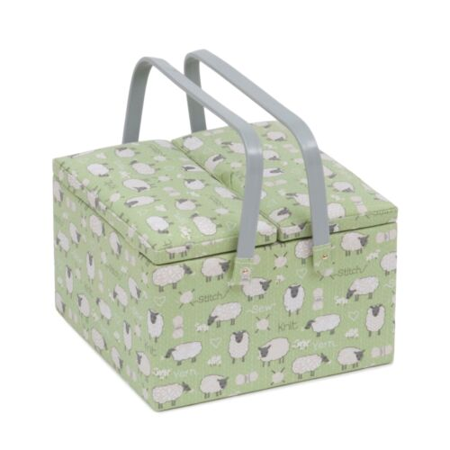 MRLTLE\438 Twin Lid Square Sewing Box Sheep Sewing Basket