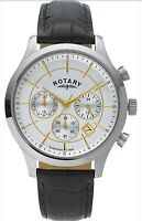 Rotary Men's Silver Dial Two Tone Brown Strap Wrist Watch. In Box. 079