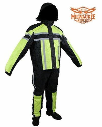 Black /& Florescent  Motorcycle Textile Two-Piece Rain Suit By Milwaukee Riders®