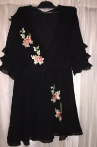 Women's Black Floral Embroidered Dress